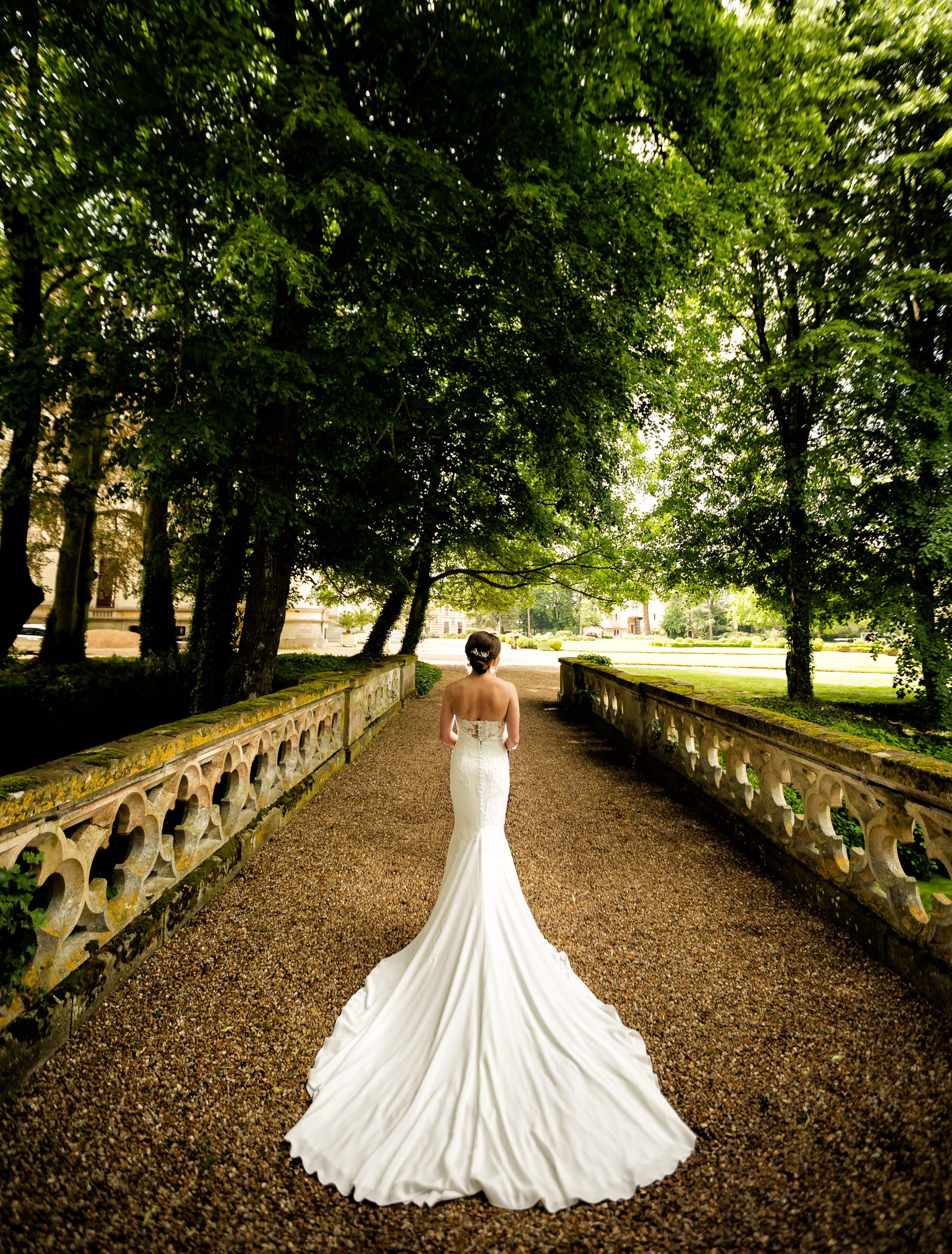 Chateau Challain bride gown forest