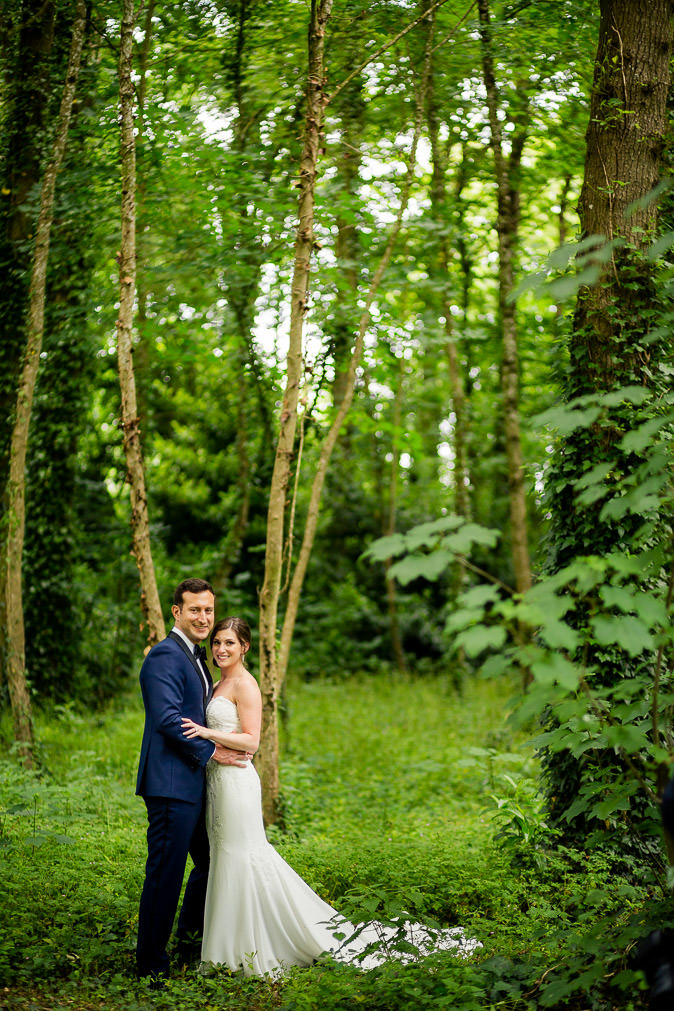 Chateau Challain forest wedding couple - KR