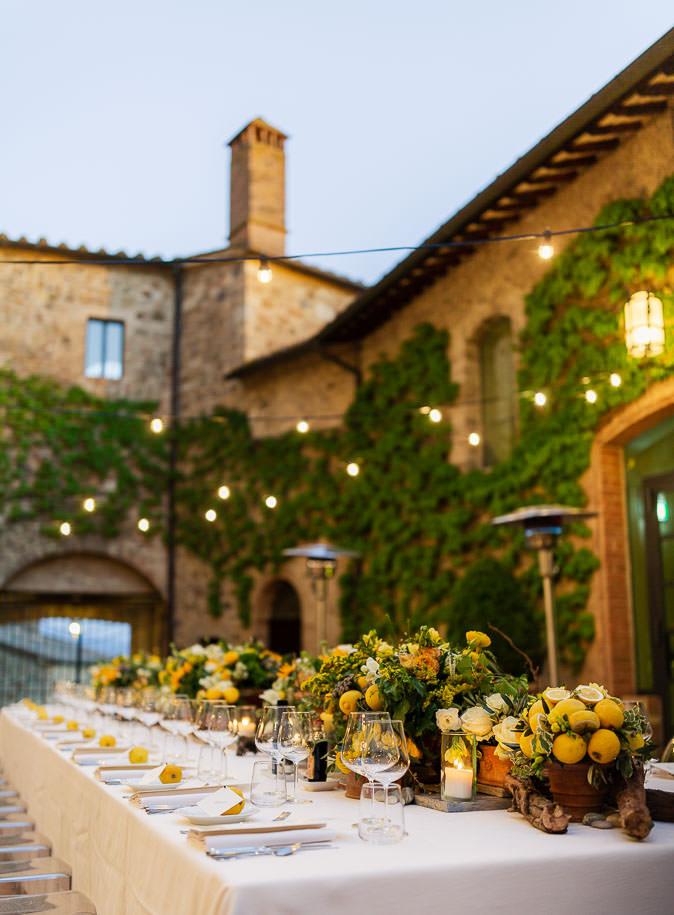 Setting rehearsal dinner castello banfi montalcino