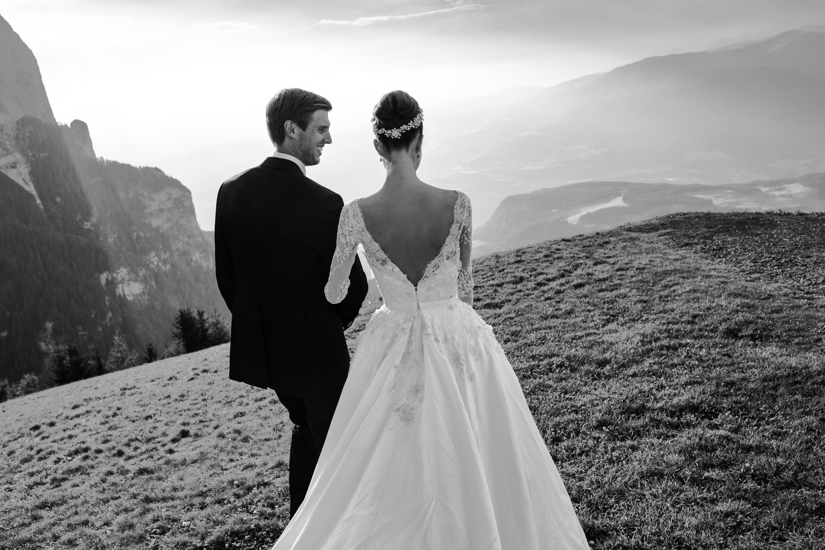 black and white panorama couple wedding dolomites portrait