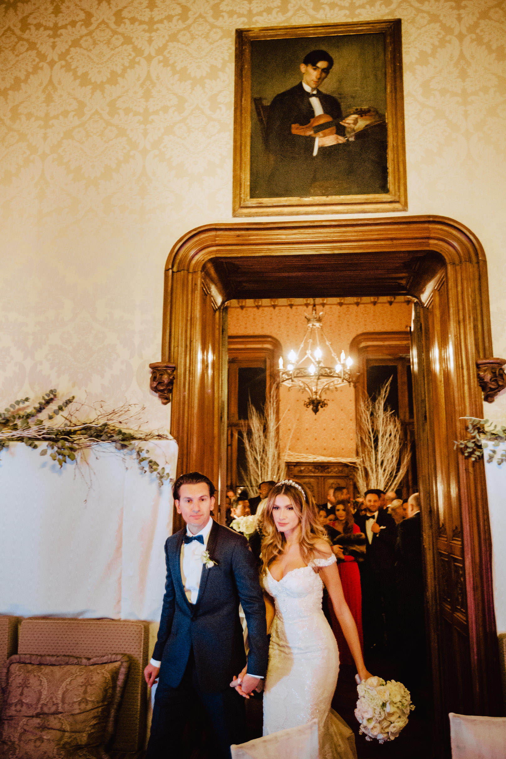 bride and groom entering dinner hall chateau challain