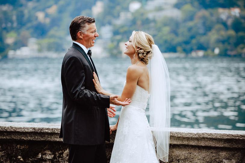 bride and groom shore lake como