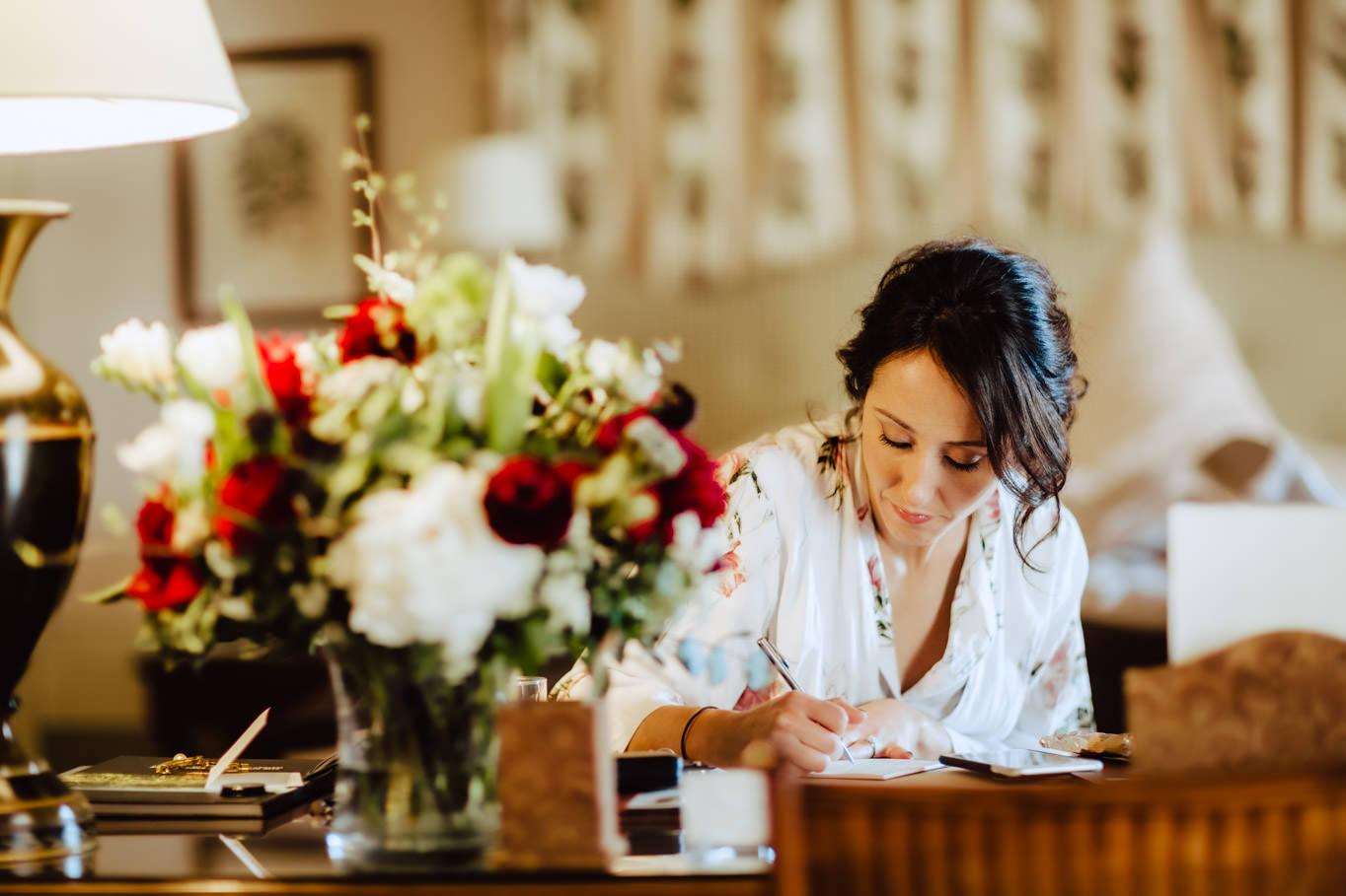 bride writing promise castello banfi montalcino