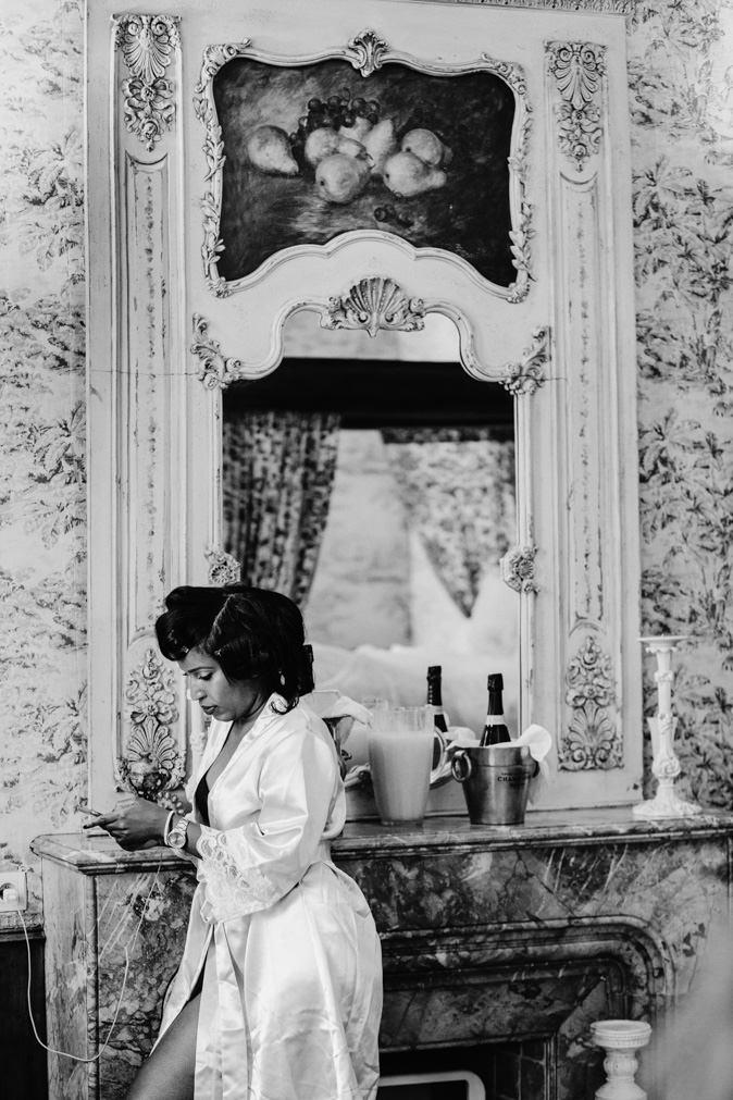 bridesmaid at phone chateau challain