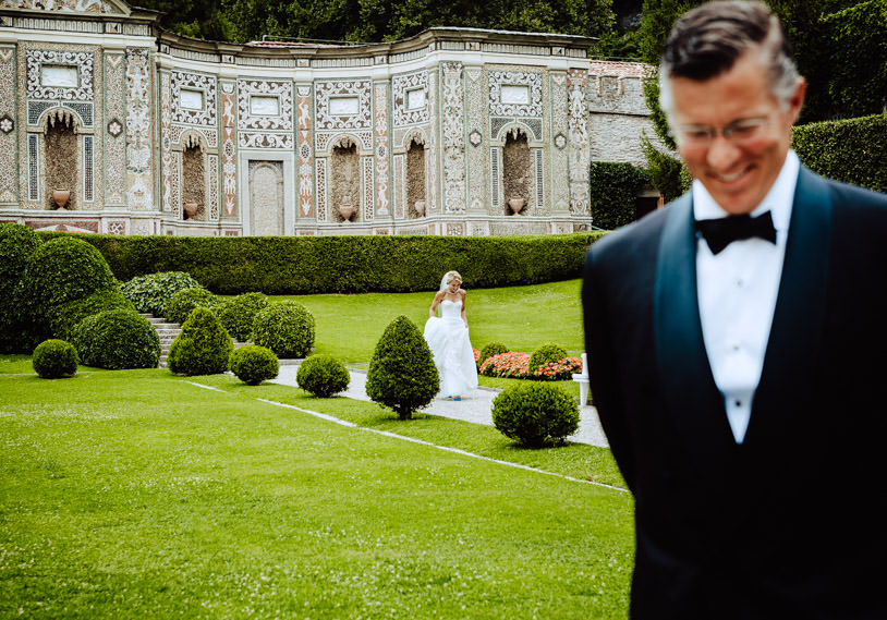 first look bride groom lake como