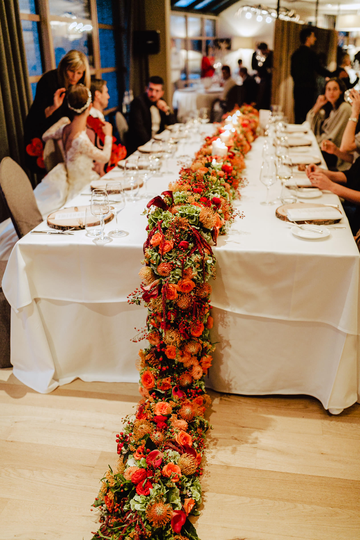 flower arrangement wedding table alpina dolomites
