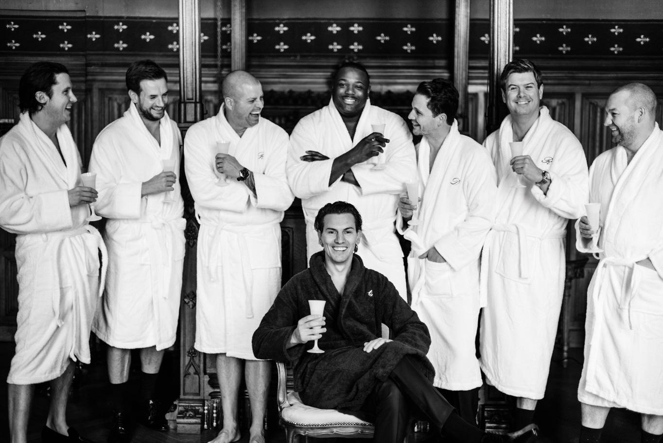 groom toasting with boys wedding chateau challain