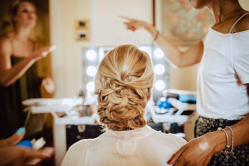hair preparation bride villa d'este wedding