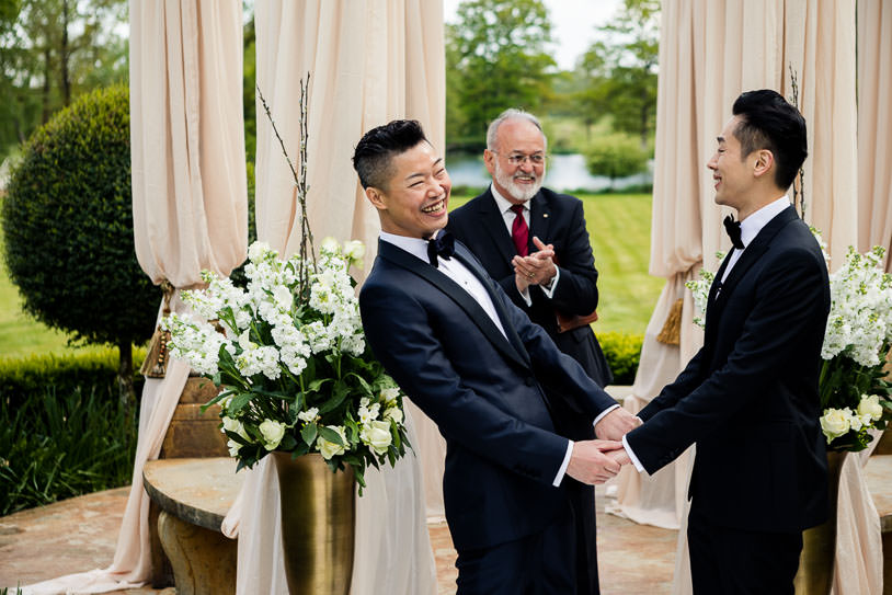 laughing at the ceremony