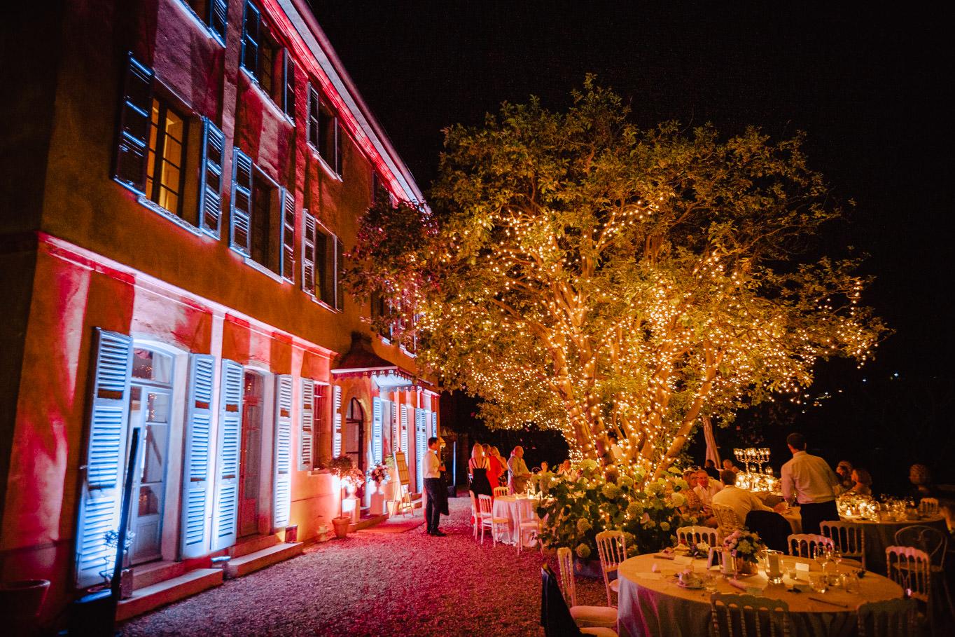 night view wedding tables villa regina teodolinda