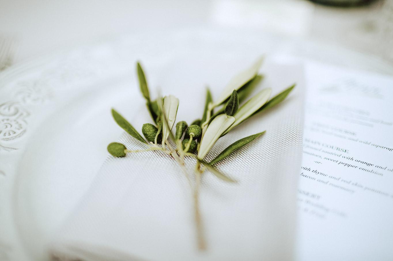 olive flower as wedding placeholder