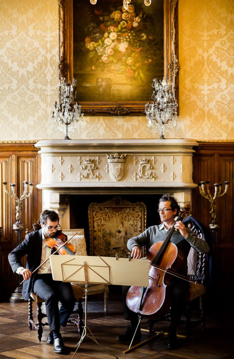 violins reception wedding same sex