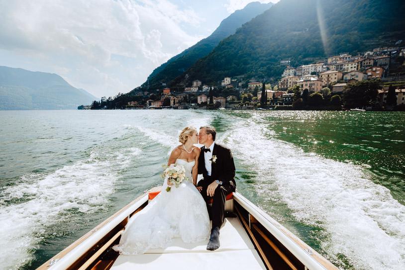 wedding bride groom boat lake como