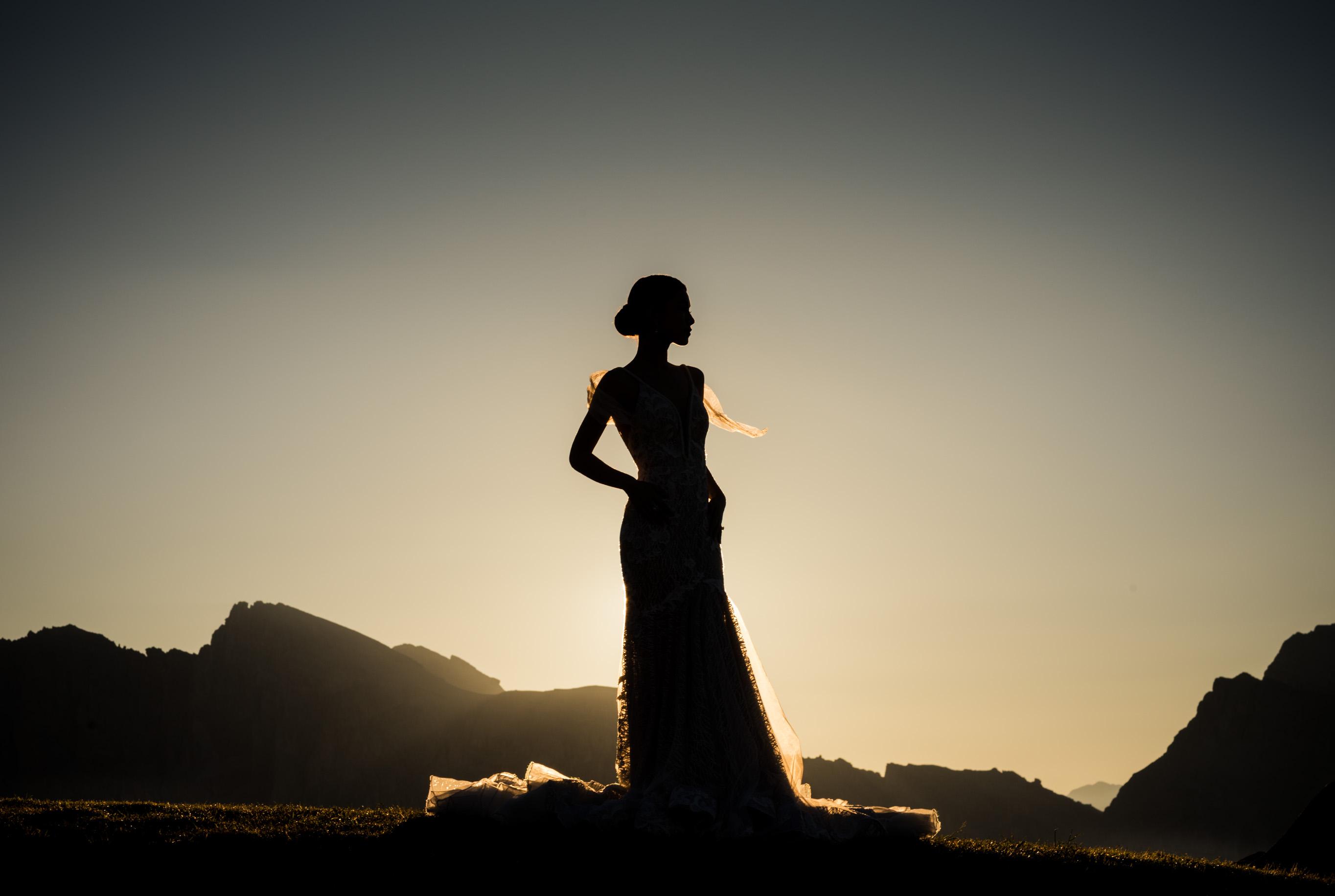 bride at sunset Dolomites Italy