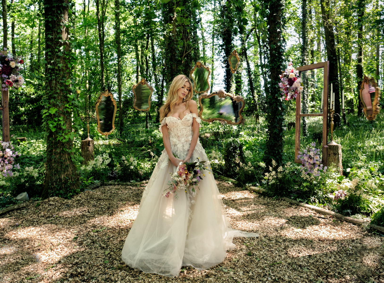 bride in the forest france
