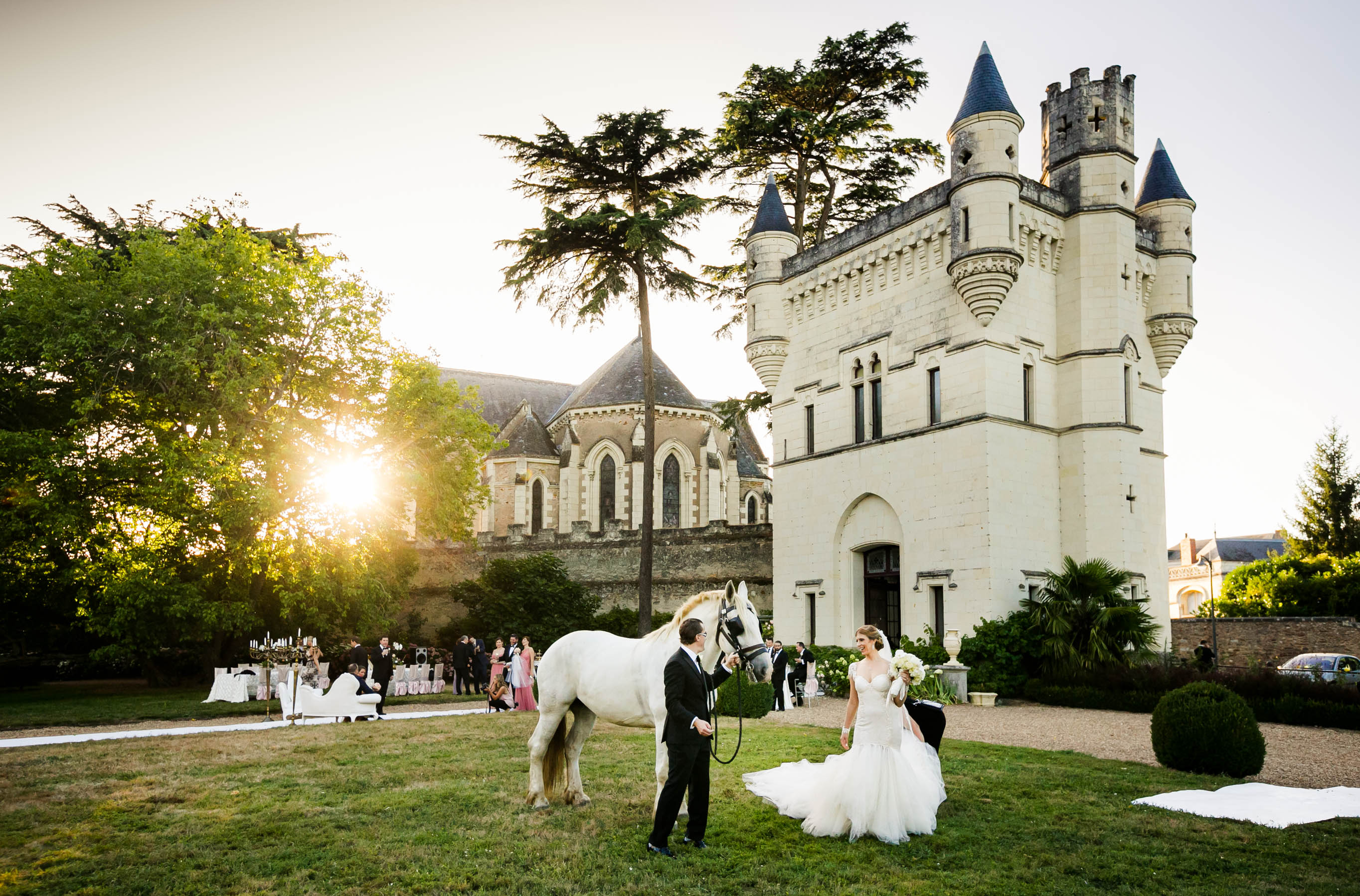 wedding with couple and horse