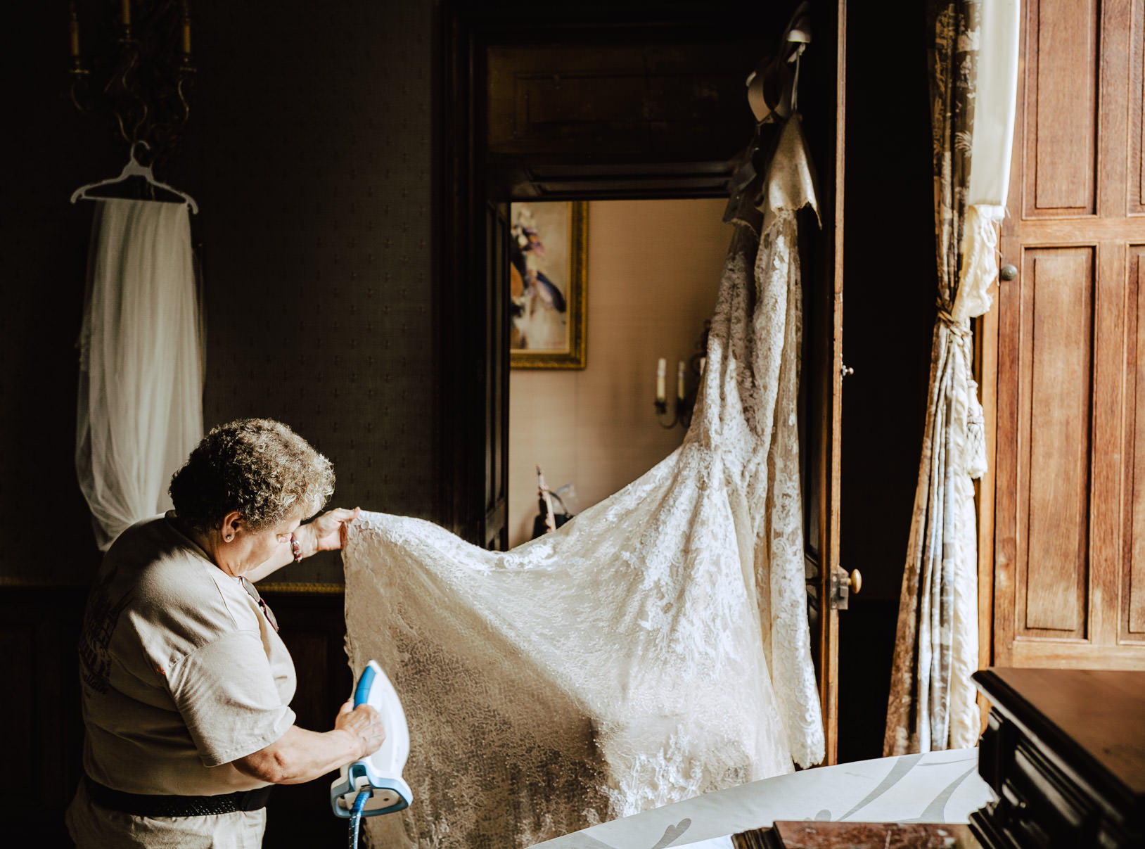 ironing the bride dress chateau challain