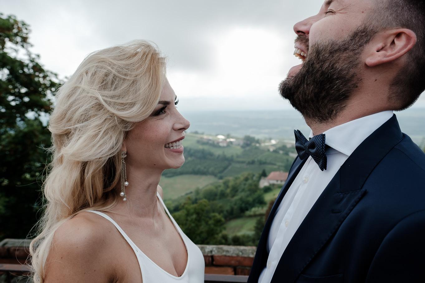 bride groom have fun