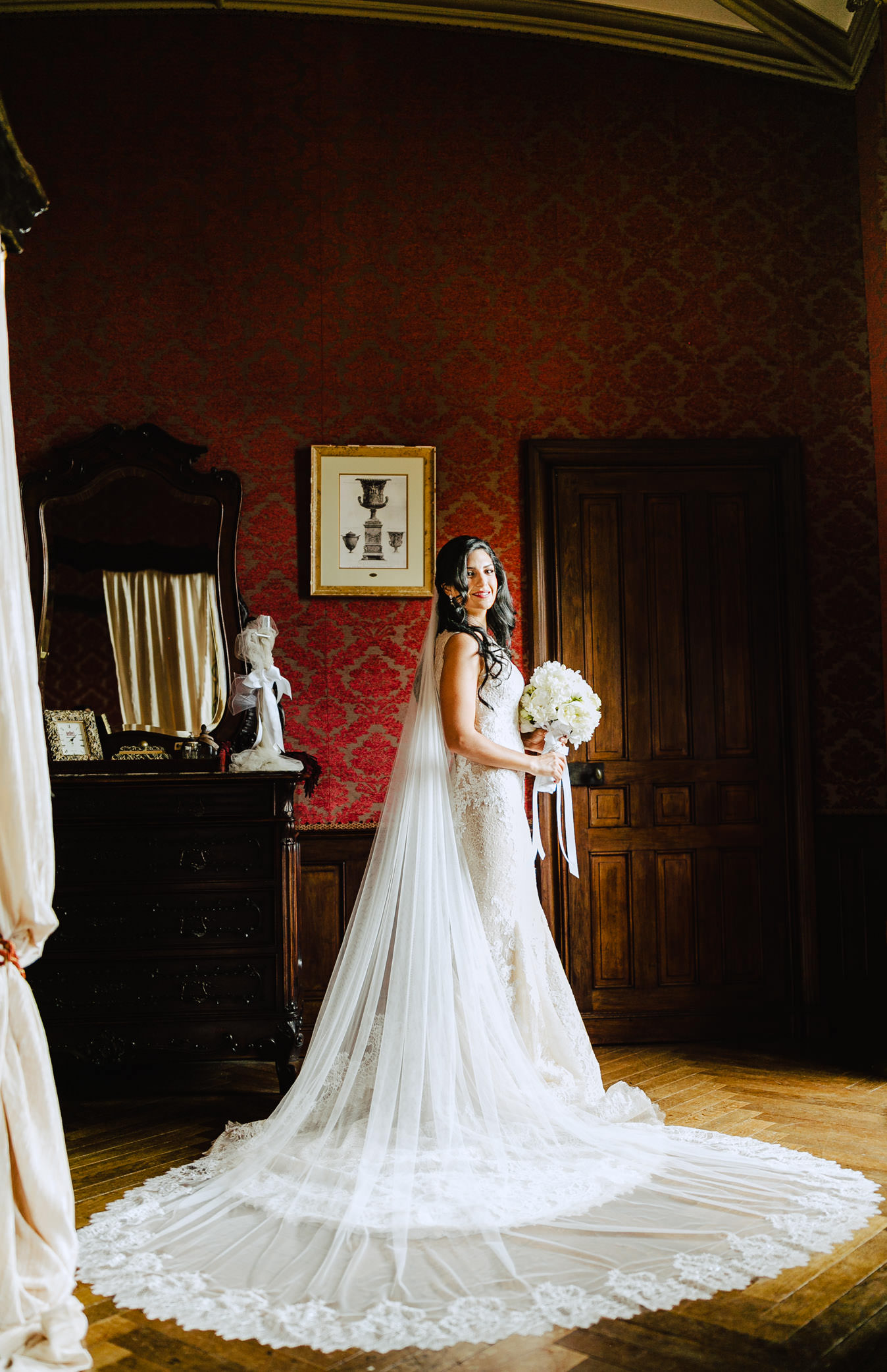 bride to be and her dress in chateau challain