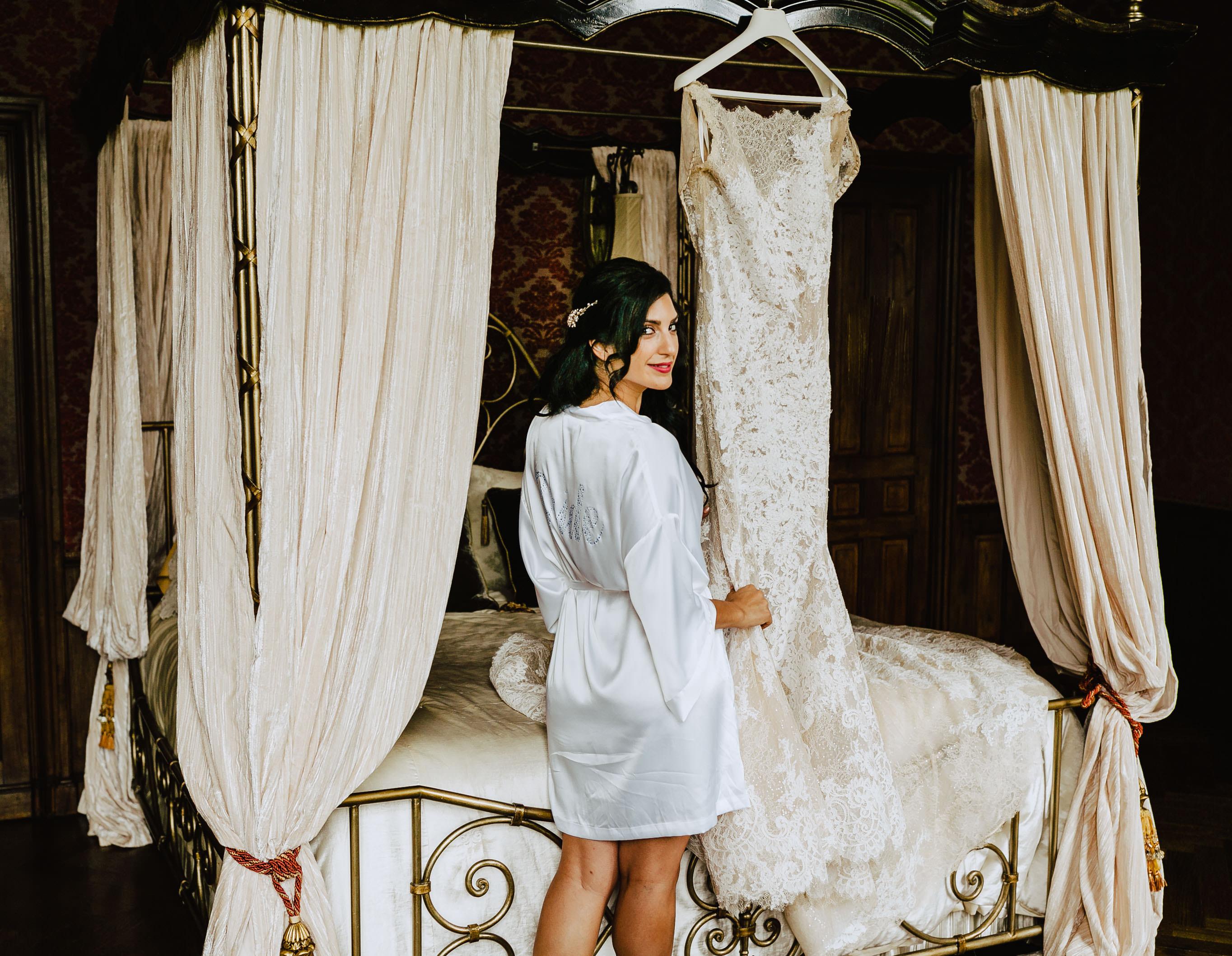 bride with her galia lahav dress chateau challain