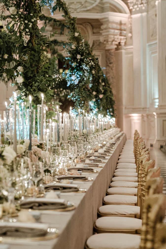 dinner table reggia di venaria wedding