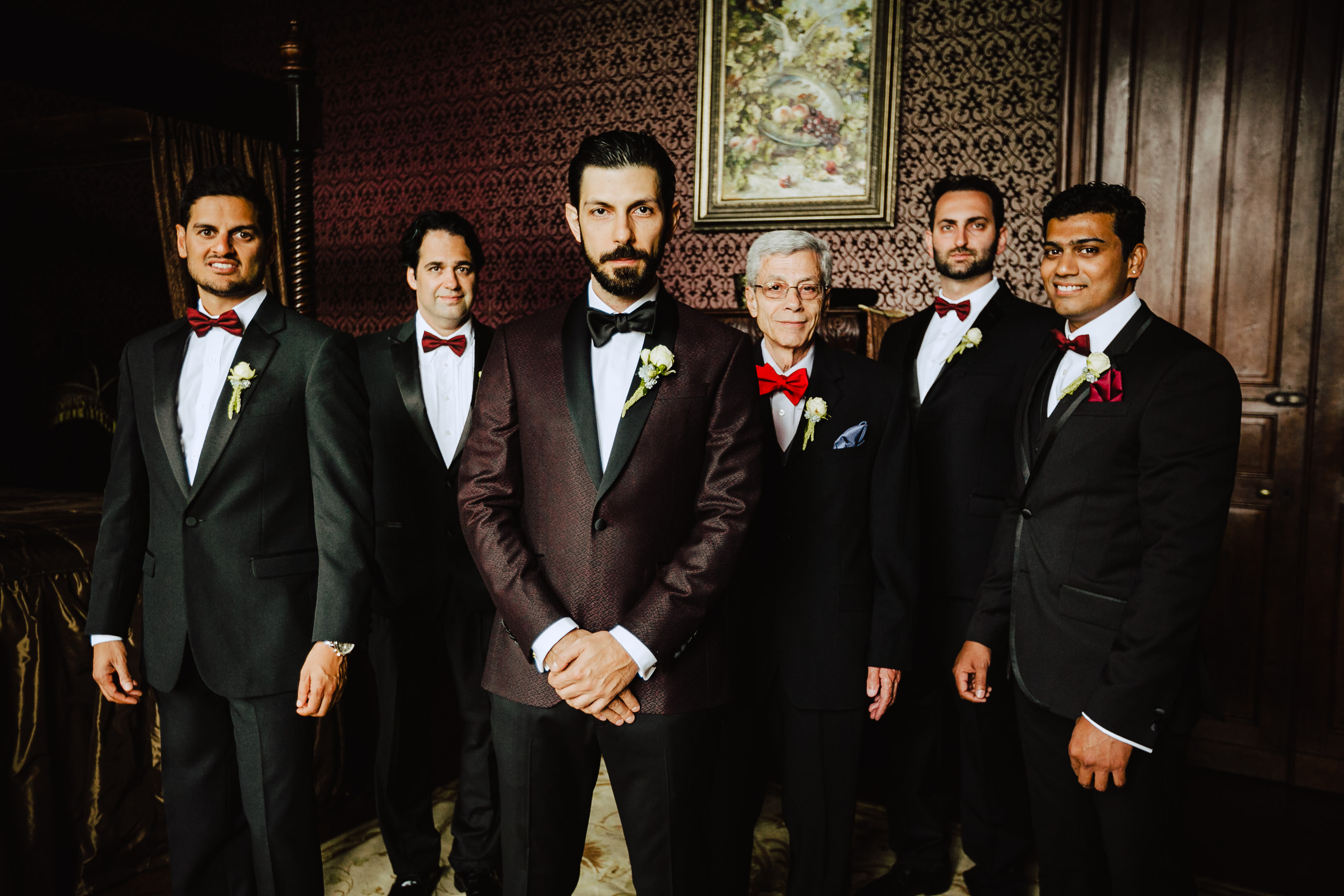 groom with groomsmen chateau challain