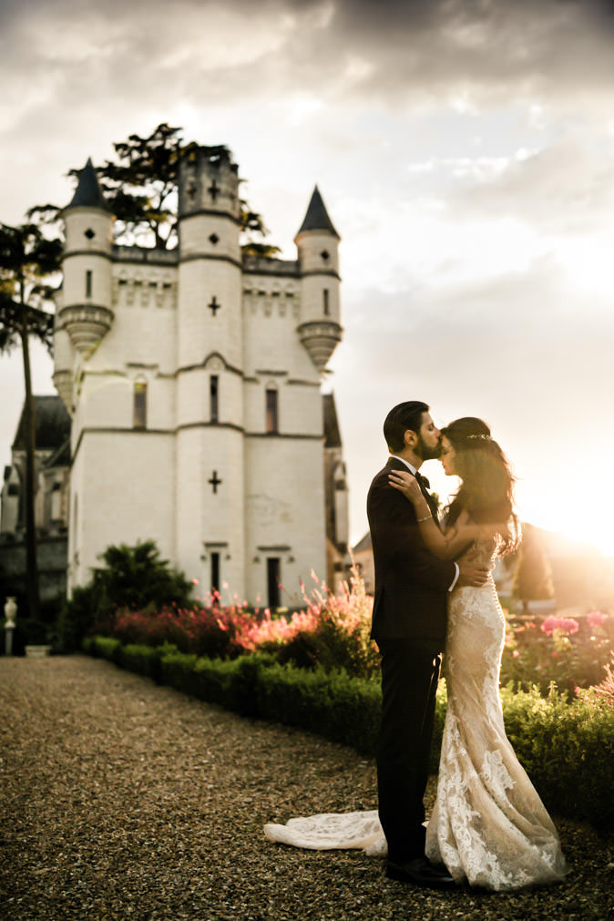 portrait backlight castle wedding
