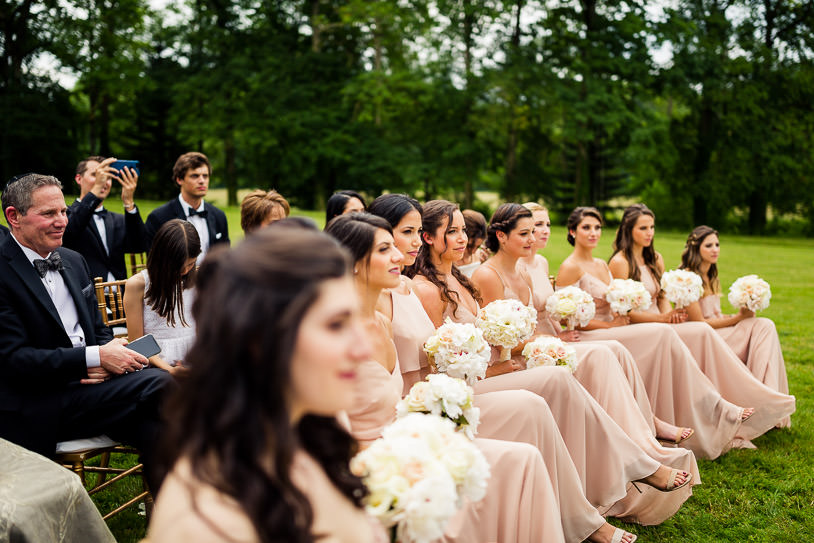 Chateau Challain bridesmaids garden ceremony