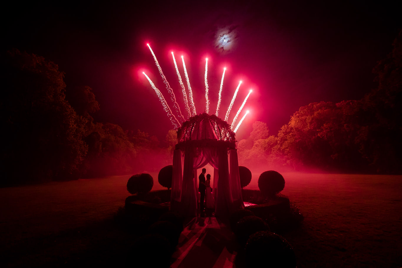 Chateau Challain fireworks at night