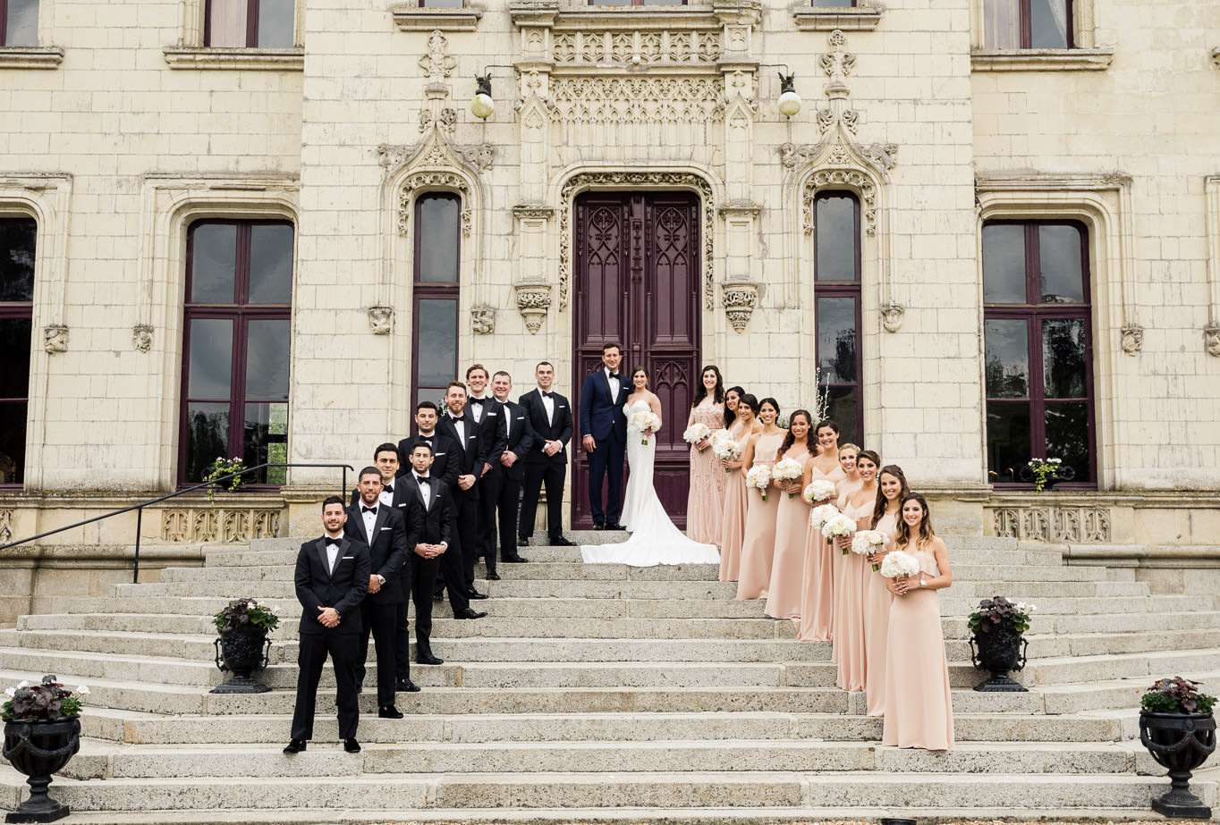 Chateau Challain wedding formal group friends